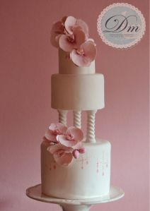 Pink Orchid Wedding Cake